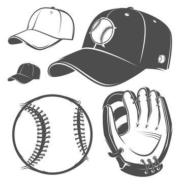 Set of baseball cap ball bat helmet monochrome style for emblems ,logo and labels.