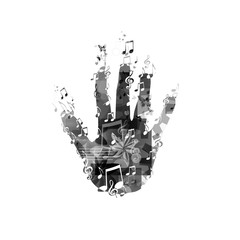 Hand with music notes