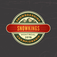 snowboarding emblem on grunge background