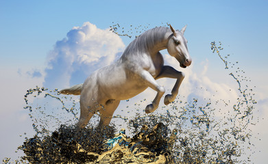 white horse jumps out of the water 3D renderwhite horse jumps out of the water  3D render