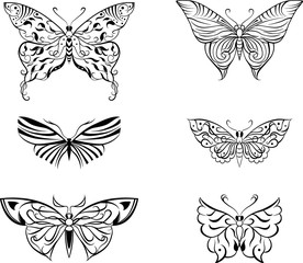 stylized butterfly set