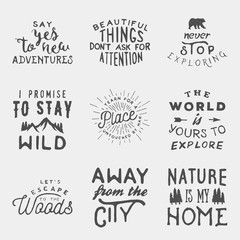 set of hand drawn wilderness, exploration quotes. artworks for wilderness