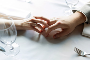 Just married hands with rings
