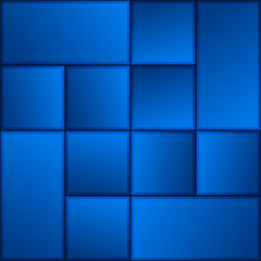 Glowing Gradient Dark Blue Square and Rectangle Tile Pattern Background Illustration