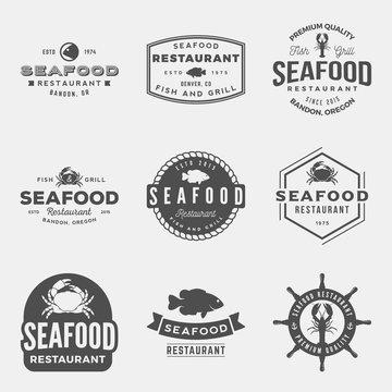 vector set of seafood restaurant vintage logos, emblems, silhouettes