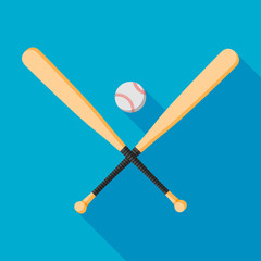 baseball bats and ball icon with long shadow