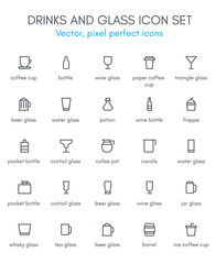 Drinks and glass line icon set.