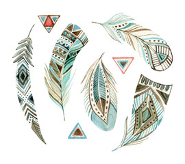 watercolor tribal feather set