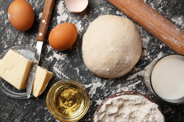 Fresh made dough and ingredients, close up