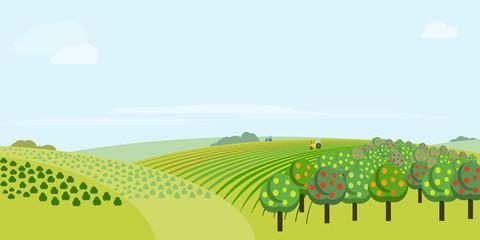 Absract farm field, green landscape raster illustration.