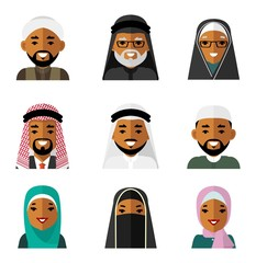 Muslim arab people characters avatars icons set in flat style isolated on white background