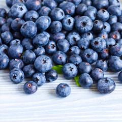 blueberries on woden table