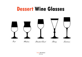Dessert wine glass silhouettes vector