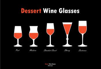 Dessert wine glass silhouettes vector