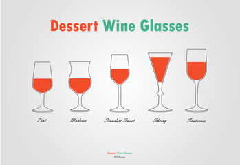 Desser wine glass silhouettes vector