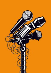 Music poster with microphones.