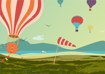 Landscape with  hot air balloons.