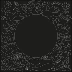 Black background with flowers and butterflies around the circle