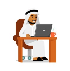 Arab man in computer internet working concept