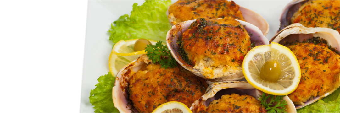 Baked Stuffed Clams. Selective focus.