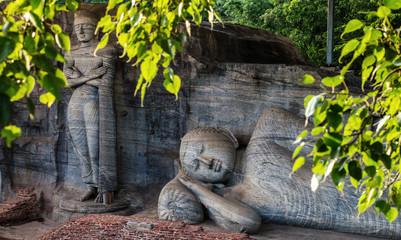 Ancient City of Polonnaruwa, Buddha statues at Gal Vihara Rock Temple (Gal Viharaya), UNESCO World Heritage Site, Sri Lanka, Asia.