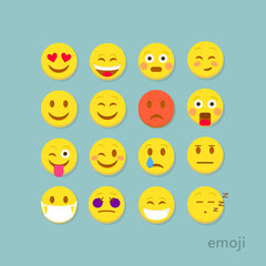 Set of flat emoticons.