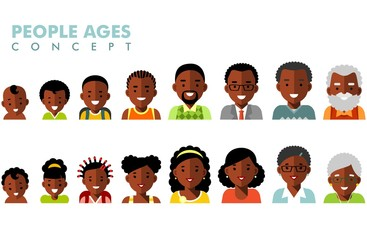 African american ethnic people generations avatars at different ages