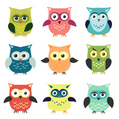 The set of owls in cartoon style