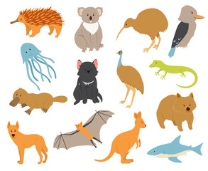 Australian animals set.