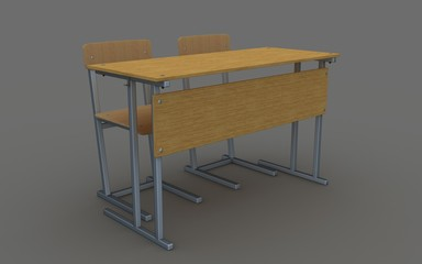 school desk and chairs