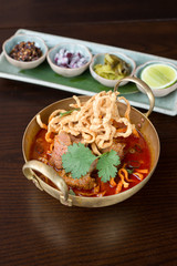 Thai curry noodle in the north of Thailand.