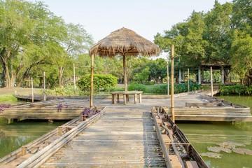Bamboo bridge and gazebo