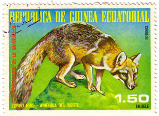 EQUATORIAL GUINEA - CIRCA 1977: A Stamp sheet printed in EQUATORIAL GUINEA shows zorro gris, a collection of Wild animals of the North America, series, circa 1977