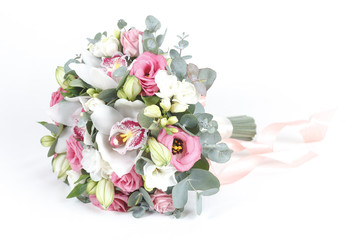 White and pink bridal bouquet isolated on white background