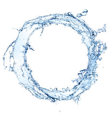 Water splash circle isolated on white background
