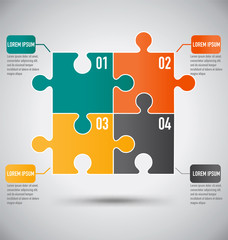Squre Puzzle Piece Infographics Template With Business Concept