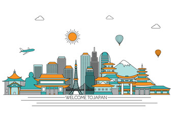 Japan detailed skyline. Travel and tourism background. Vector background. line illustration. Line art style