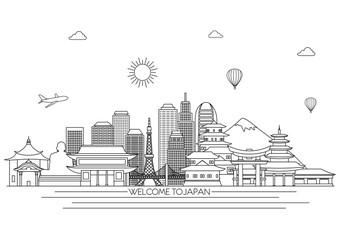 Japan detailed skyline. Travel and tourism background. Vector background. line illustration. Line art style
