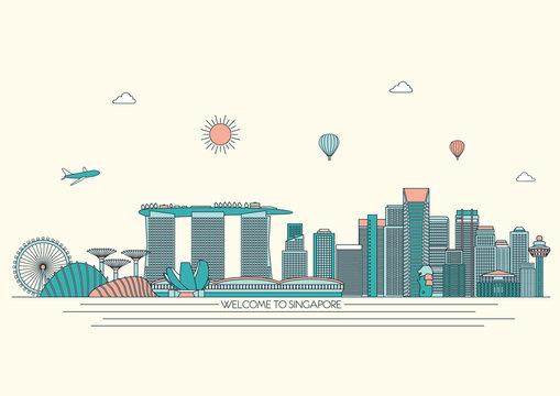 detailed Skyline. Travel and tourism background. Vector background. line illustration. Line art style