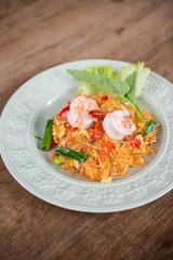 Stir fried vermicelli and mixed vegetables with sukiyaki sauce.