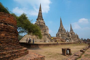 Ancient Pagoda in Wat Phrasisanpetch (Phra Si Sanphet). Ayutthaya historical city, Thailand