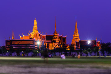 Wat Phra Kaew, Public temple at night in Bangkok, Thailand.
