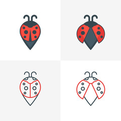 Abstract ladybug point symbols. Stylized map waypoint. Set of vector logo, icon, label design elements. Outline and flat style illustration.