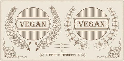 vegan vintage design logo, frames for template, site and other
