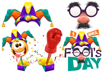 Fools cap smile on spring. Funny glasses nose. April Fools Day lettering text for greeting card. 1 April Fools Day