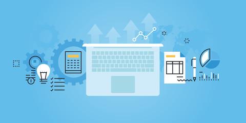 Flat line design website banner of business services. Modern vector illustration for web design, marketing and print material.
