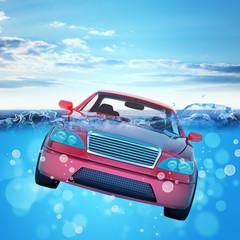 Car drowning in sea