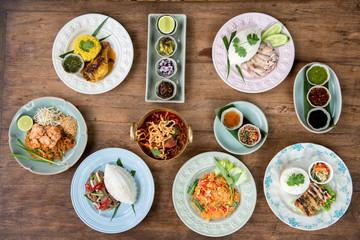 Mix many dish of Thai foods.