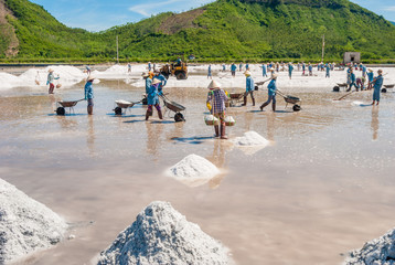 Women and men are working on salt field. In the foreground hills of sea salt. Khanh Hoa Province, Vietnam, 2014