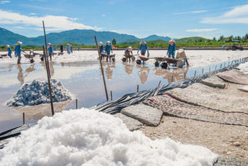 Women are working on salt field. In the foreground hill of sea salt. Khanh Hoa Province, Vietnam, 2014
